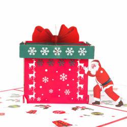 Santa with Gift Box Pop Up Card